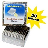 20 Rectangular Neo-Magnets 30mm x 25mm x 1mm